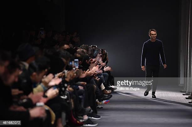 Neil Barrett walks the runway during the Neil Barret Show as a part of Milan Menswear Fashion Week Fall Winter 2015/2016 on January 17 2015 in Milan...