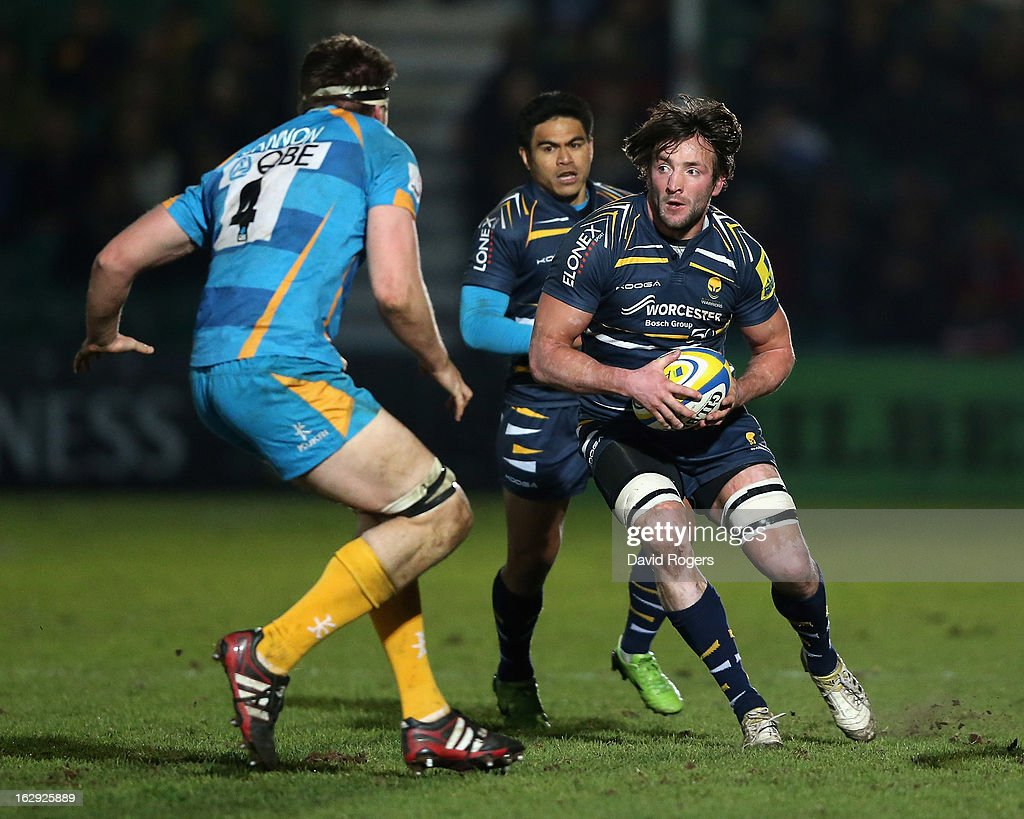 Neil Best of Worcester takes on James Cannon during the Aviva Premiership match between Worcester Warriors and London Wasps at Sixways Stadium on March 1, 2013 in Worcester, England.