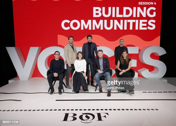 Neil Blumenthal Derek Blasberg Rachel Blumenthal Antoine Arnault Doug Stephens James Scully and Melanie Whelan on stage during #BoFVOICES on December...