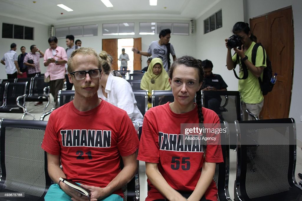 Neil Bonner and Rebecca Prosser are seen before they listen to demands of prosecutors at Batam District Court on October 22 2015 in Batam Indonesia...