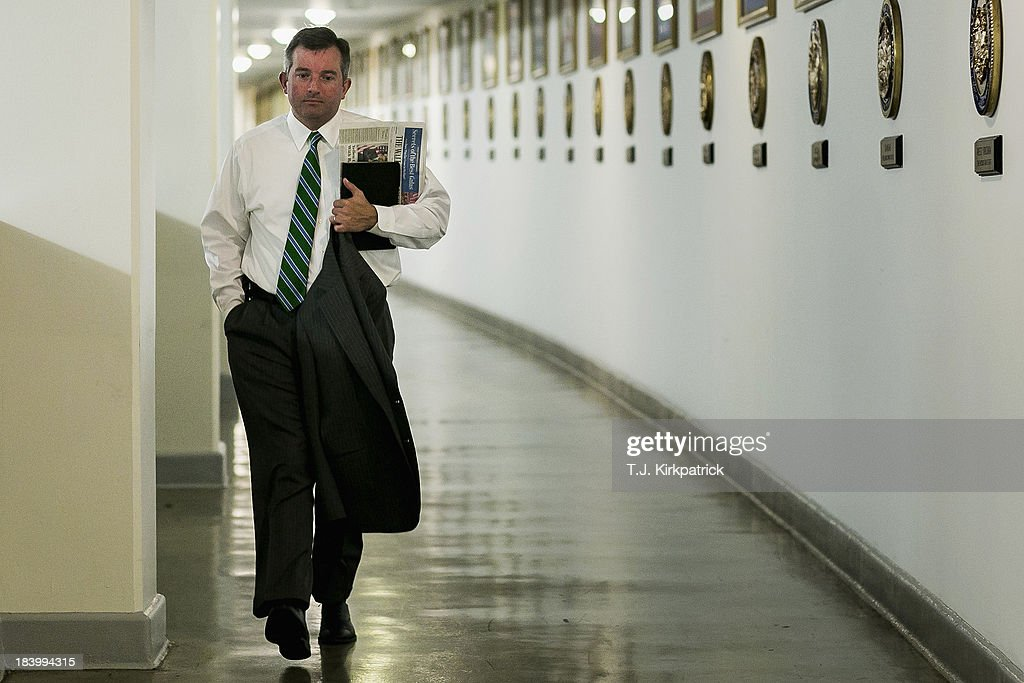 Neil Bradley, deputy chief of staff and policy director for House Majority Leader Eric Cantor, walks through the tunnel to the Rayburn House Office Building as congressional staff continue negotiations in to the night at the U.S. Capitol on October 10, 2013 in Washington, DC. House Speaker John Boehner suggested earlier today that Republicans may be willing to offer a short-term debt limit increase to allow for time to negotiate on reopening the government.