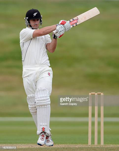Neil Broom of a New Zealand XI bats during day four of the International Tour Match between the New Zealand XI and England at Queenstown Events...