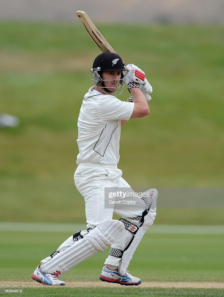 <a gi-track='captionPersonalityLinkClicked' href=/galleries/search?phrase=Neil+Broom&family=editorial&specificpeople=887253 ng-click='$event.stopPropagation()'>Neil Broom</a> of a New Zealand XI bats during day four of the International Tour Match between the New Zealand XI and England at Queenstown Events Centre on March 2, 2013 in Queenstown, New Zealand.