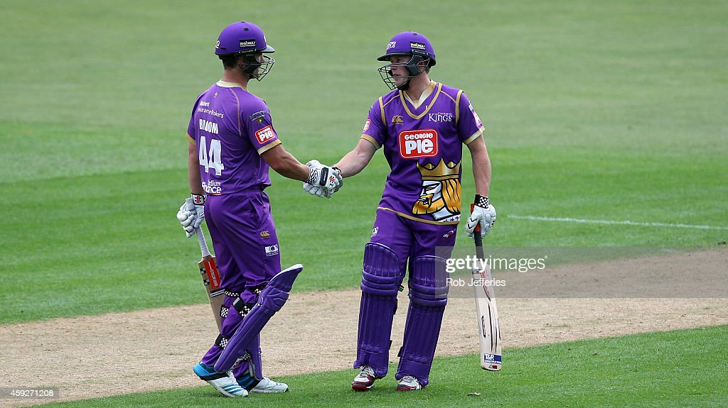 <a gi-track='captionPersonalityLinkClicked' href=/galleries/search?phrase=Neil+Broom&family=editorial&specificpeople=887253 ng-click='$event.stopPropagation()'>Neil Broom</a> of Canterbury, who scored 96 runs, congratulates Henry Nicholls on scoring 61 runs during the Georgie Pie Super Smash T20 match between the Otago Volts and the Canterbury Kings at University Oval on November 20, 2014 in Dunedin, New Zealand.