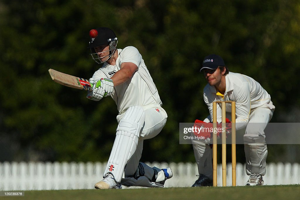 <a gi-track='captionPersonalityLinkClicked' href=/galleries/search?phrase=Neil+Broom&family=editorial&specificpeople=887253 ng-click='$event.stopPropagation()'>Neil Broom</a> of New Zealand bats during the Emerging Players Tournament match between the AIS and New Zealand at Redlands Sports Grounds on August 2, 2011 in Brisbane, Australia.
