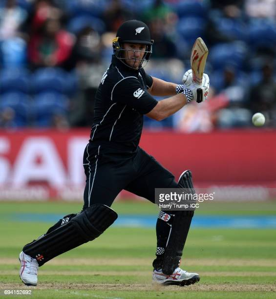 Neil Broom of New Zealand bats during the ICC Champions Trophy match between New Zealand and Bangladesh at the SWALEC Stadium on June 9 2017 in...