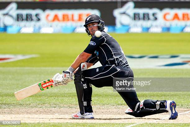 Neil Broom of New Zealand bats during the second One Day International match between New Zealand and New Zealand and Bangladesh at Saxton Field on...