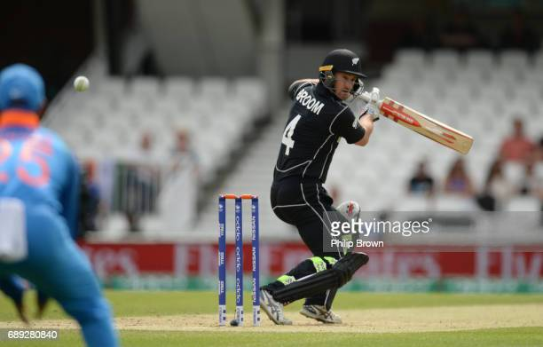 Neil Broom of New Zealand edges the ball and is caught during the ICC Champions Trophy Warmup match between India and New Zealand at the Kia Oval...