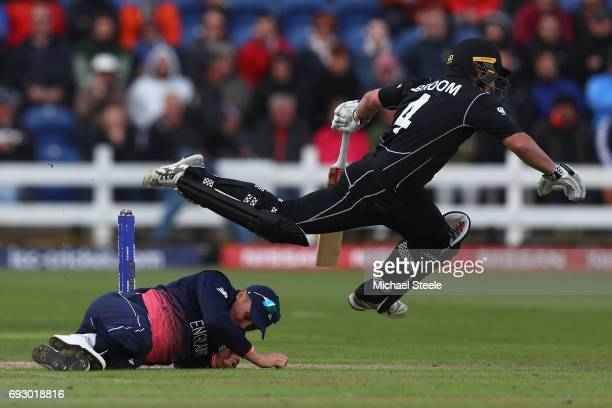 Neil Broom of New Zealand is upended by Jason Roy of England going for a quick single during the ICC Champions Trophy match between England and New...