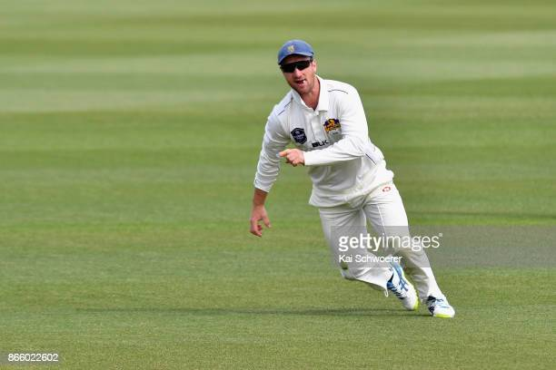 Neil Broom of Otago celebrates after dismissing Cameron Fletcher of Canterbury during the Plunket Shield match between Canterbury and the Otago Volts...