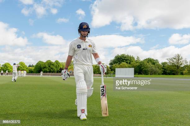 Neil Broom of Otago looks dejected after being dismissed for 48 runs by Tim Johnston of Canterbury during the Plunket Shield match between Canterbury...