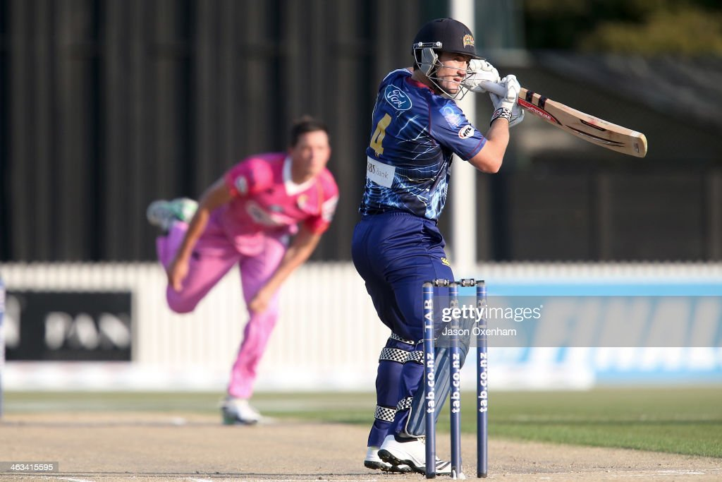 <a gi-track='captionPersonalityLinkClicked' href=/galleries/search?phrase=Neil+Broom&family=editorial&specificpeople=887253 ng-click='$event.stopPropagation()'>Neil Broom</a> of Otago runs the ball down to third man during the HRV Final match between the Otago Volts and Northern Districts at Seddon Park on January 18, 2014 in Hamilton, New Zealand.