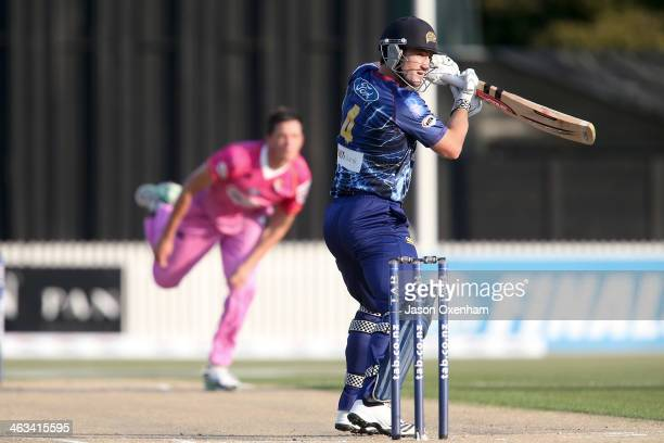 Neil Broom of Otago runs the ball down to third man during the HRV Final match between the Otago Volts and Northern Districts at Seddon Park on...