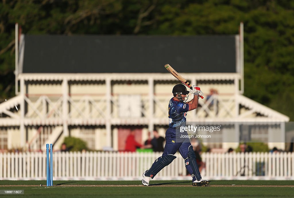 <a gi-track='captionPersonalityLinkClicked' href=/galleries/search?phrase=Neil+Broom&family=editorial&specificpeople=887253 ng-click='$event.stopPropagation()'>Neil Broom</a> of the Otago Volts is bowled during the HRV Twenty20 match between Canterbury Wizards and Otago Volts on November 2, 2013 in Christchurch, New Zealand. Hagley Oval is hosting back-to-back matches under temporary lights to open the 2013-14 competition this weekend.
