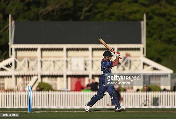 Neil Broom of the Otago Volts is bowled during the HRV Twenty20 match between Canterbury Wizards and Otago Volts on November 2 2013 in Christchurch...