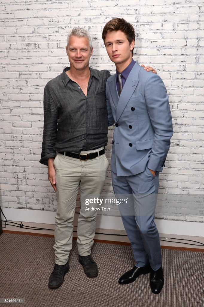 Neil Burger and Ansel Elgort the screening after party of 'Baby Driver' hosted by TriStar Pictures and The Cinema Society at The Crown at Hotel 50 Bowery on June 26, 2017 in New York City.