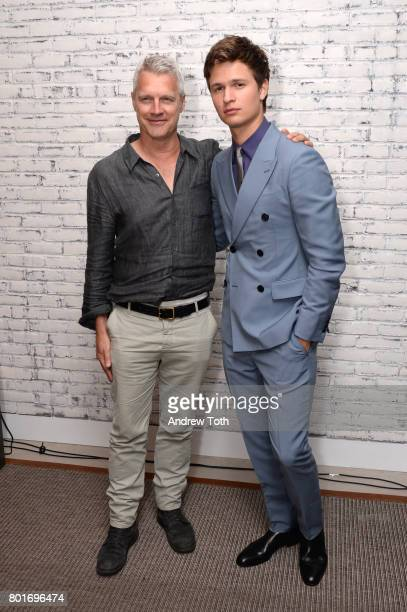 Neil Burger and Ansel Elgort the screening after party of 'Baby Driver' hosted by TriStar Pictures and The Cinema Society at The Crown at Hotel 50...