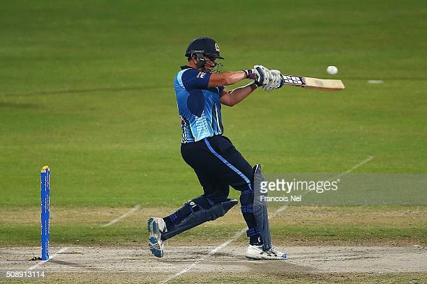 Neil Carter of Leo Lions bats during the Oxigen Masters Champions League match between the Libra Legends and Leo Lions on February 7 2016 in Sharjah...