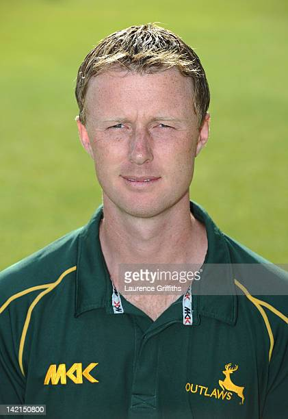 Neil Carter of Nottinghamshire poses for a portrait during the Nottinghamshire County Cricket Club photocall at Trent Bridge on March 30 2012 in...