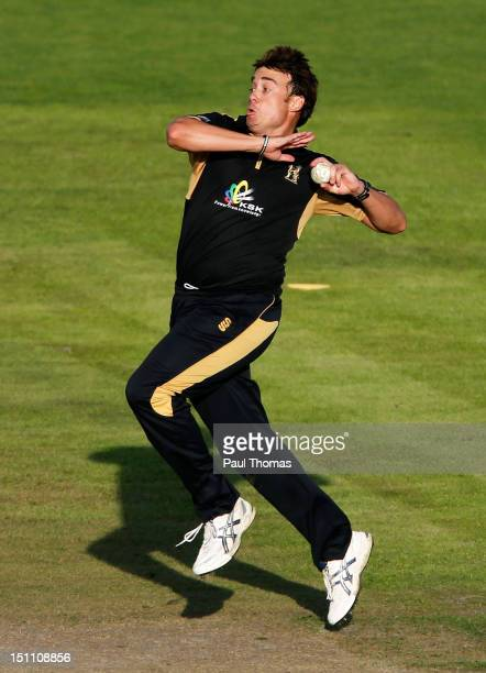 Neil Carter of Warwickshire bowls during the Clydesdale Bank Pro40 semi final match between Lancashire and Warwickshire at Old Trafford on September...