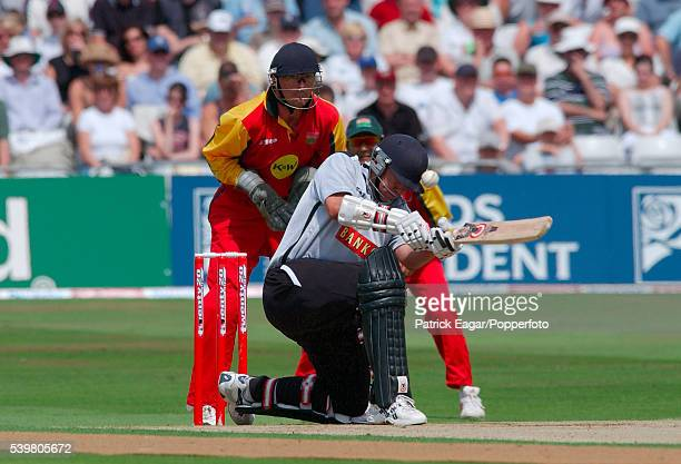 Neil Carter of Warwickshire is hit on the helmet by a delivery from Philip DeFreitas of Leicestershire while batting during the Twenty20 Cup...