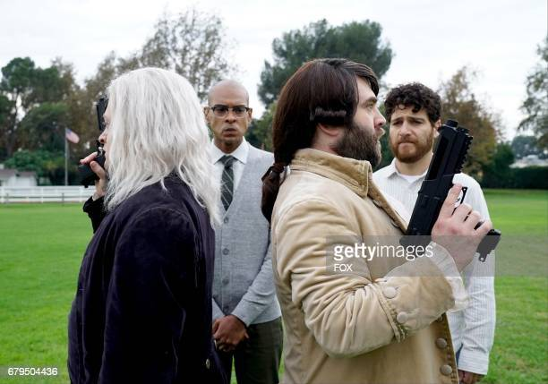 Neil Casey Yassir Lester John Gemberling and Adam Pally in the 'The Duel' episode of MAKING HISTORY airing Sunday May 7 on FOX