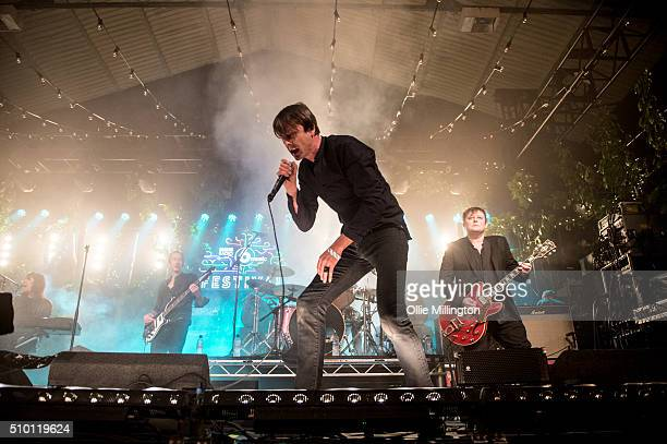 Neil Codling Brett Anderson Matt Osman Simon Gilbert and Richard Oakes of Suede perform headlining day 2 of the BBC 6 Music Festival onstage at...