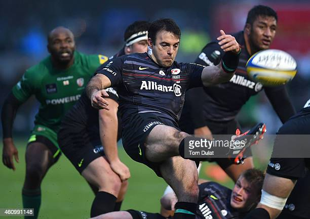 Neil de Kock of Saracens kicks the ball during the Aviva Premiership match between Saracens and London Irish at Allianz Park on January 03 2015 in...