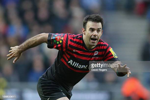Neil de Kock of Saracens looks on during the Aviva Premiership match between Saracens and Northampton Saints at stadiumMK on December 30 2012 in...