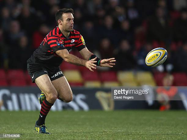 Neil de Kock of Saracens passes the ball during the Aviva Premiership match between Saracens and Gloucester at Vicarage Road on December 2 2012 in...