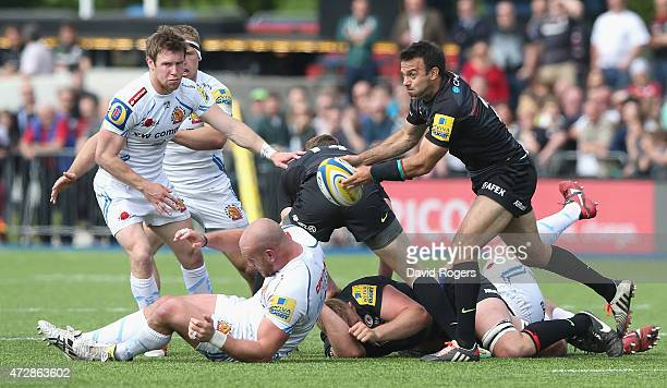 Neil de Kock of Saracens passes the ball during the Aviva Premiership match between Saracens and Exeter Chiefs at Allianz Park on May 10 2015 in...