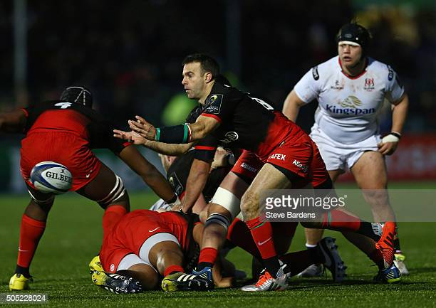 Neil De Kock of Saracens passes the ball during the European Rugby Champions Cup pool one match between Saracens and Ulster at Allianz Park on...