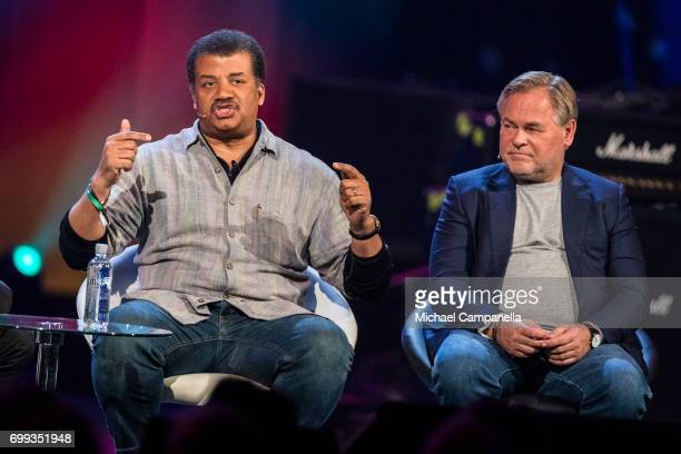 Neil deGrasse Tyson and Eugene Kaspersky participate in a roundtable discussion during the Starmus Festival on June 21 2017 in Trondheim Norway