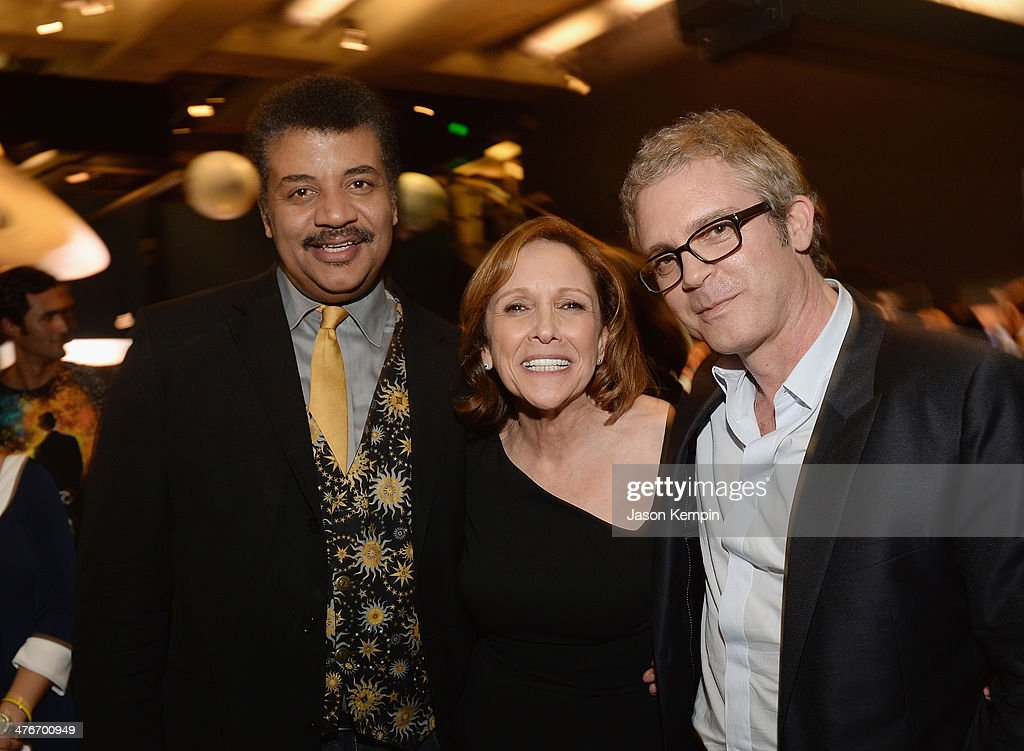 Neil deGrasse Tyson, Ann Druyan and <a gi-track='captionPersonalityLinkClicked' href=/galleries/search?phrase=Brannon+Braga&family=editorial&specificpeople=2257566 ng-click='$event.stopPropagation()'>Brannon Braga</a> attend the premiere of Fox's 'Cosmos: A SpaceTime Odyssey' at the Griffith Observatory on March 4, 2014 in Los Angeles, California.