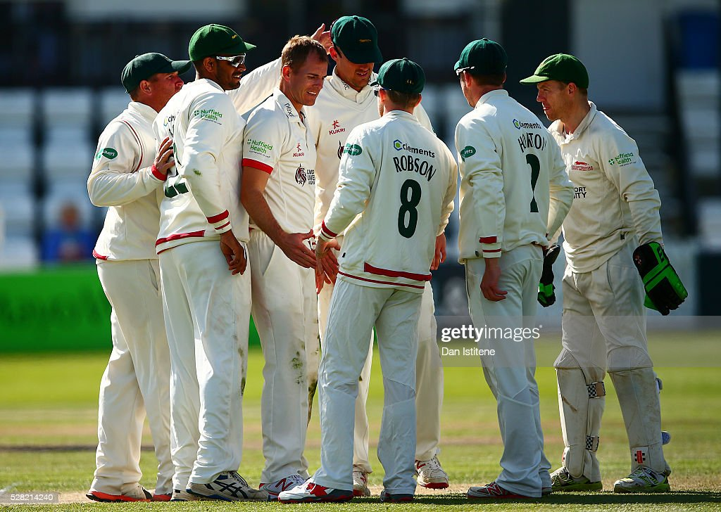 <a gi-track='captionPersonalityLinkClicked' href=/galleries/search?phrase=Neil+Dexter&family=editorial&specificpeople=652847 ng-click='$event.stopPropagation()'>Neil Dexter</a> of Leicestershire celebrates with his team-mates after claiming the wicket of Luke Wells of Sussex during the Specsavers County Championship Division Two match between Sussex and Leicestershire at The 1st Central County Ground on May 4, 2016 in Hove, England.