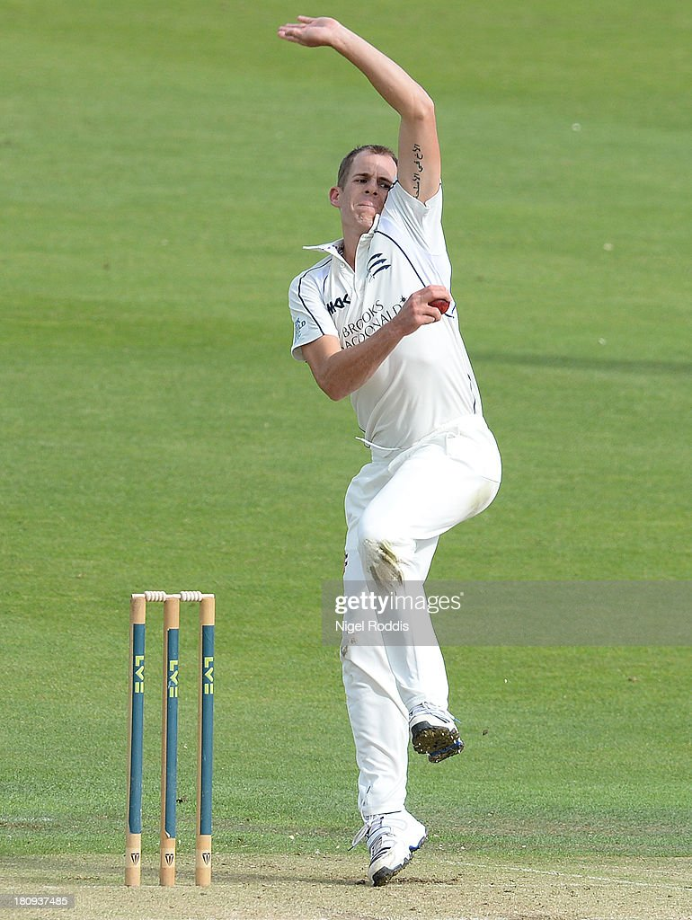 Neil Dexter of Middlesex bowls during day two of the LV County Championship Division One match between Yorkshire and Middlesex at Headingley Stadium on September 18, 2013 in Leeds, England.
