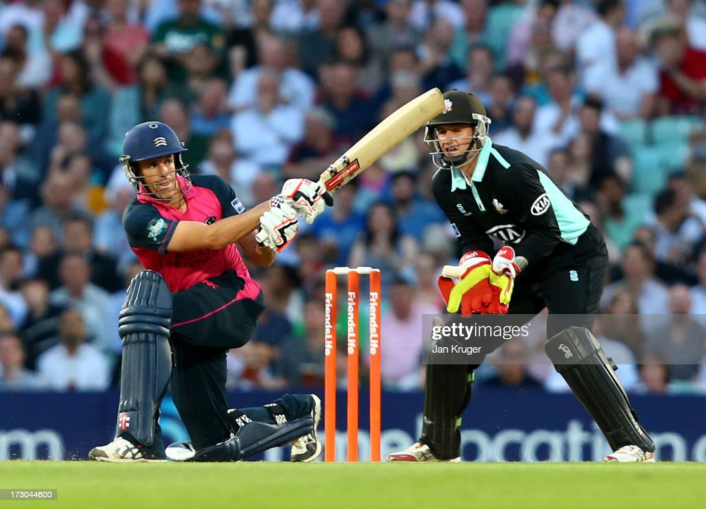 Neil Dexter of Middlesex hits out during the Friends Life T20 match between Surrey Lions and Middlesex Panthers at The Kia Oval on July 5, 2013 in London, England.
