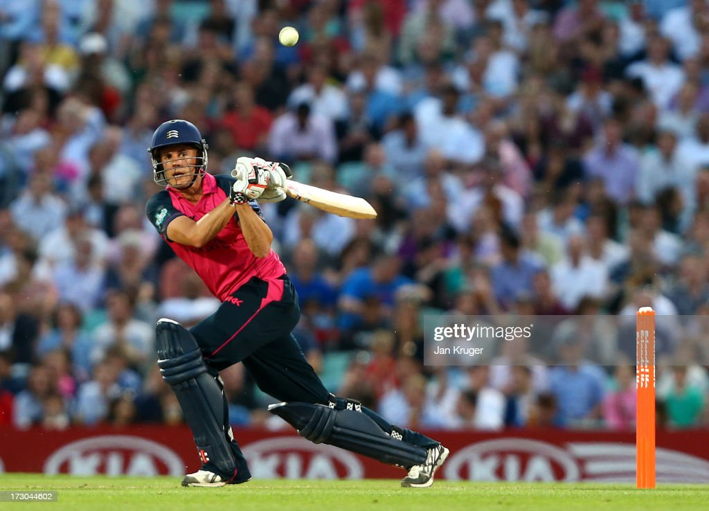 Neil Dexter of Middlesex plays a pull shot during the Friends Life T20 match between Surrey Lions and Middlesex Panthers at The Kia Oval on July 5, 2013 in London, England.
