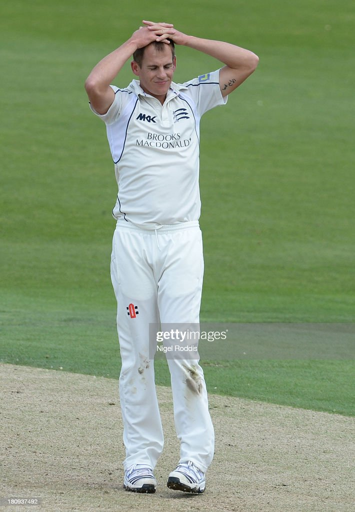 <a gi-track='captionPersonalityLinkClicked' href=/galleries/search?phrase=Neil+Dexter&family=editorial&specificpeople=652847 ng-click='$event.stopPropagation()'>Neil Dexter</a> of Middlesex reacts during day two of the LV County Championship Division One match between Yorkshire and Middlesex at Headingley Stadium on September 18, 2013 in Leeds, England.