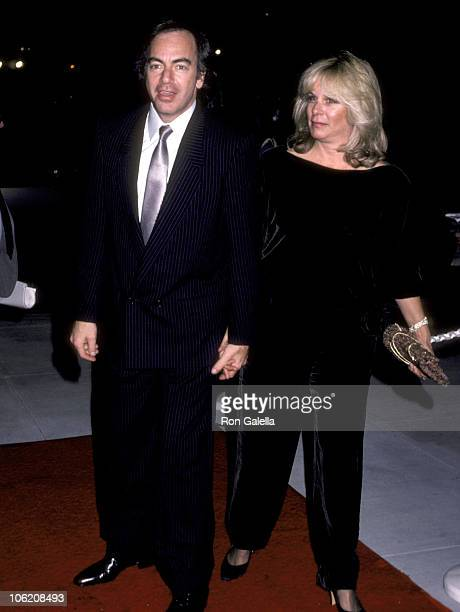 Neil Diamond and Marcia Murphy during Memorial Service for Neil Bogart at Hollywood Park Race Track in Inglewood California United States