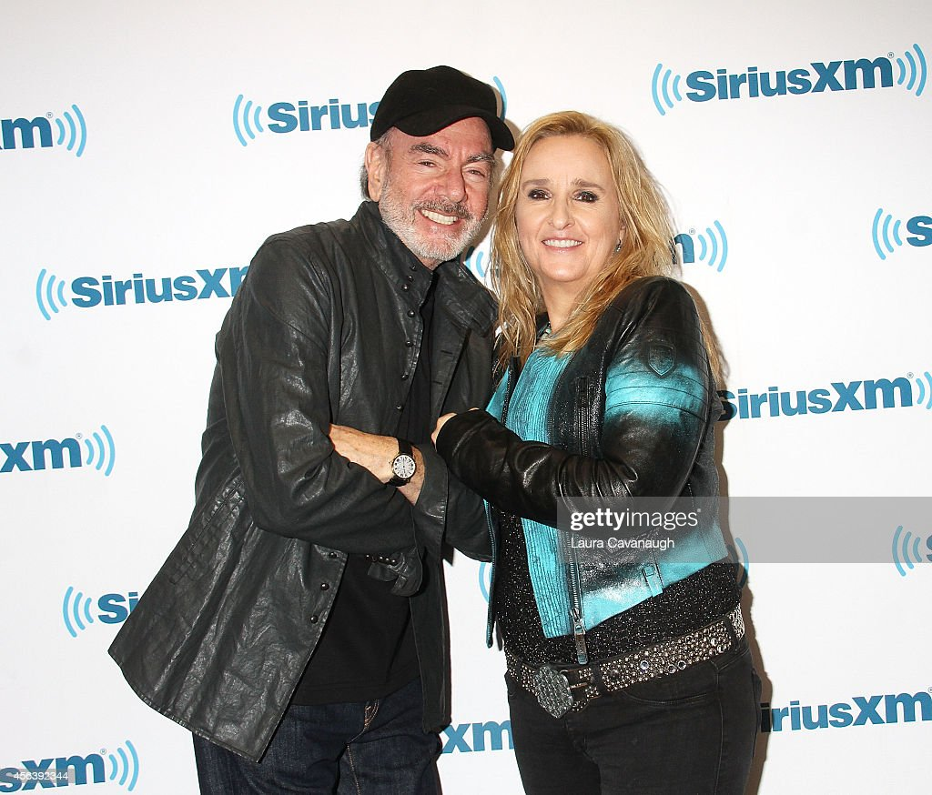 Neil Diamond and Melissa Etheridge visit SiriusXM Studios on September 30, 2014 in New York City.