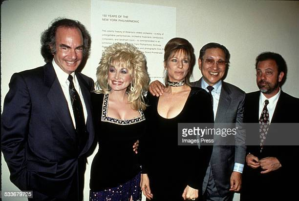 Neil Diamond Dolly Parton Barbra Streisand Norio Ohga and Billy Joel circa 1993 in New York City