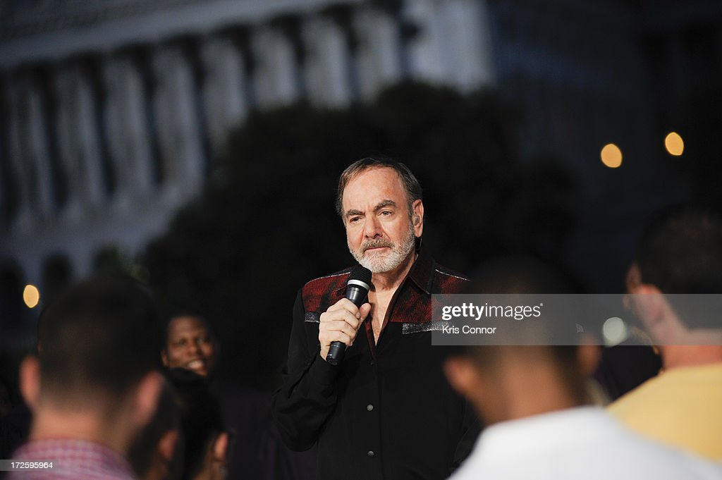 <a gi-track='captionPersonalityLinkClicked' href=/galleries/search?phrase=Neil+Diamond&family=editorial&specificpeople=210635 ng-click='$event.stopPropagation()'>Neil Diamond</a> performs during a rehearsal for the 'A Capitol Fourth 2013 Independence Day Concert' on the West Lawn of the US Capitol on July 3, 2013 in Washington, DC.