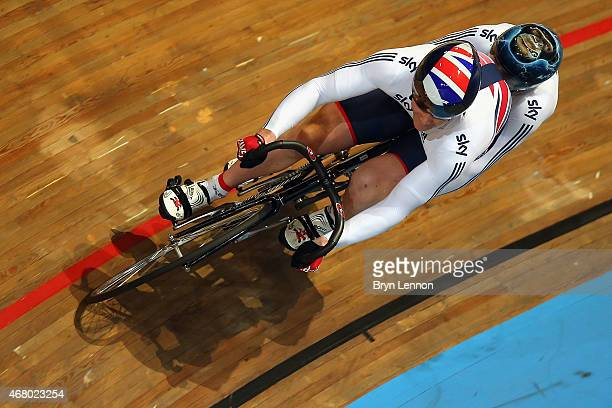 Neil Fachie and Pete Mitchell of the Great Britain Cycling Team in action in the Men's B Sprint on day four of the UCI Paracycling Track World...