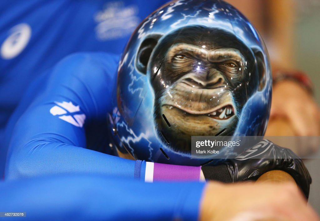 <a gi-track='captionPersonalityLinkClicked' href=/galleries/search?phrase=Neil+Fachie&family=editorial&specificpeople=4820369 ng-click='$event.stopPropagation()'>Neil Fachie</a> of Scotland shows amonkey design on his helmet prior to the Men's Sprint B2 Tandem Final at Sir Chris Hoy Velodrome during day three of the Glasgow 2014 Commonwealth Games on July 26, 2014 in Glasgow, United Kingdom.