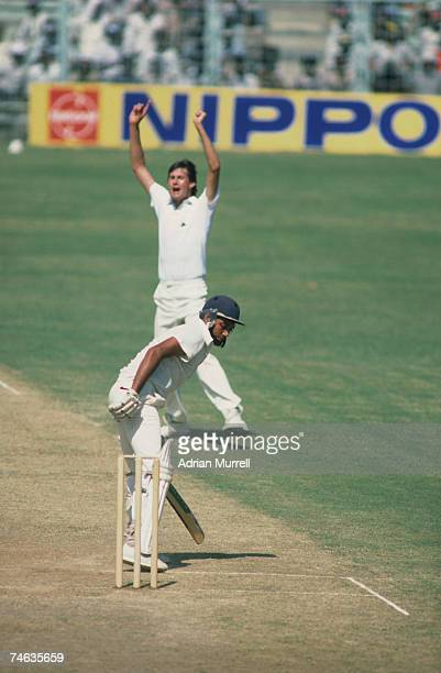 Neil Foster celebrates taking the wicket of Mohinder Amarnath during the 4th Test Match between India and England in Madras January 1985
