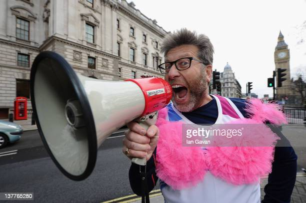 Neil Fox poses outside Downing Street during the Team Pants And Bra photcall at Whitehall on January 26 2012 in London England Team Pants and Bra...
