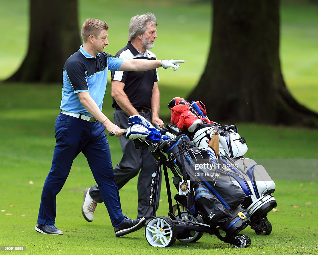 Neil Giles and Ian Taylor of Fleetwood Golf Club make their way up the 6th fairway during the PGA ProCaptain North Qualifier at Dunham Forest Golf...