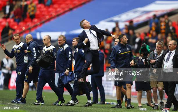 Neil Harris manager of Millwall celebrates victory and promotion after the Sky Bet League One Playoff Final between Bradford City and Millwall at...
