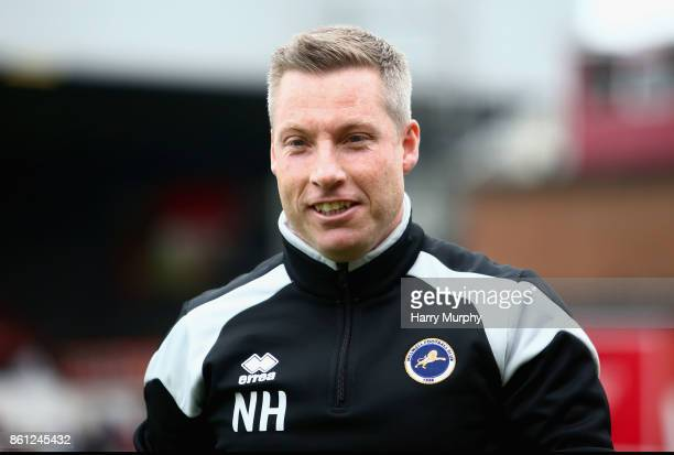 Neil Harris Manager of Millwall looks on prior to the Sky Bet Championship match between Brentford and Millwall at Griffin Park on October 14 2017 in...